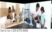 Купить «Animation of families renovating a room», видеоролик № 29675866, снято 18 июля 2019 г. (c) Wavebreak Media / Фотобанк Лори
