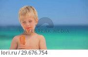Купить «Little smiling boy eating water ice», видеоролик № 29676754, снято 15 ноября 2010 г. (c) Wavebreak Media / Фотобанк Лори