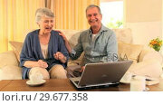 Retired couple happy at having used their laptop successfully . Стоковое видео, агентство Wavebreak Media / Фотобанк Лори
