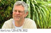 Pensive retired man . Стоковое видео, агентство Wavebreak Media / Фотобанк Лори