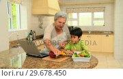 Купить «Woman teaching grandson to cook», видеоролик № 29678450, снято 5 ноября 2010 г. (c) Wavebreak Media / Фотобанк Лори
