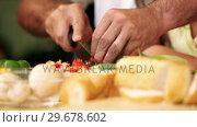 Купить «Sandwich and fillings getting sliced», видеоролик № 29678602, снято 2 ноября 2011 г. (c) Wavebreak Media / Фотобанк Лори