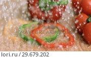 Купить «Water raining on peppers in super slow motion», видеоролик № 29679202, снято 26 января 2012 г. (c) Wavebreak Media / Фотобанк Лори