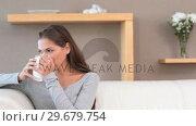 Купить «Brunette woman drinking a tea», видеоролик № 29679754, снято 4 ноября 2011 г. (c) Wavebreak Media / Фотобанк Лори
