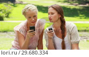 Купить «Two women with their phones in hand in the park as they read a text message», видеоролик № 29680334, снято 17 ноября 2011 г. (c) Wavebreak Media / Фотобанк Лори