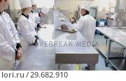 Купить «Head chef checking other chefs dishes», видеоролик № 29682910, снято 1 августа 2012 г. (c) Wavebreak Media / Фотобанк Лори