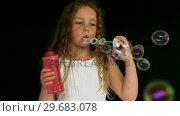 Купить «Little girl making bubbles», видеоролик № 29683078, снято 28 августа 2012 г. (c) Wavebreak Media / Фотобанк Лори