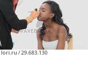 Купить «Woman sitting while getting eye makeup done», видеоролик № 29683130, снято 27 августа 2012 г. (c) Wavebreak Media / Фотобанк Лори