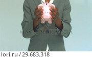 Купить «Businesswoman shaking coins out of piggy bank», видеоролик № 29683318, снято 30 мая 2012 г. (c) Wavebreak Media / Фотобанк Лори