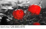 Купить «Many chili peppers dropping in water », видеоролик № 29683470, снято 29 февраля 2012 г. (c) Wavebreak Media / Фотобанк Лори