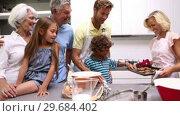 Купить «Mother serving freshly baked cookies to her extended family», видеоролик № 29684402, снято 22 марта 2013 г. (c) Wavebreak Media / Фотобанк Лори