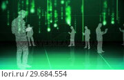 Купить «Futuristic animation with holograms of business people », видеоролик № 29684554, снято 26 апреля 2013 г. (c) Wavebreak Media / Фотобанк Лори