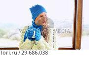 Купить «Cute blonde drinking from mug in a ski lodge», видеоролик № 29686038, снято 22 мая 2013 г. (c) Wavebreak Media / Фотобанк Лори