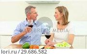 Купить «Mature couple drinking red wine together», видеоролик № 29686582, снято 18 октября 2013 г. (c) Wavebreak Media / Фотобанк Лори