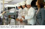 Купить «Woman supervising the chefs», видеоролик № 29687018, снято 23 ноября 2015 г. (c) Wavebreak Media / Фотобанк Лори