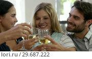 Купить «Happy couple toasting together», видеоролик № 29687222, снято 16 декабря 2015 г. (c) Wavebreak Media / Фотобанк Лори