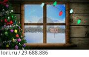 Купить «Illustration of christmas greeting with christmas tree and christmas lights», видеоролик № 29688886, снято 23 сентября 2016 г. (c) Wavebreak Media / Фотобанк Лори
