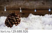Купить «Pine cones decoration on fake snow», видеоролик № 29688926, снято 30 августа 2016 г. (c) Wavebreak Media / Фотобанк Лори