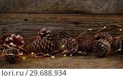 Купить «Pine cones with christmas lights on wooden plank», видеоролик № 29688934, снято 30 августа 2016 г. (c) Wavebreak Media / Фотобанк Лори