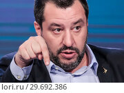 Купить «Italian Minister of Interior ad Deputy Prime Minister Matteo Salvini during the tv show Porta a porta, Rome, ITALY-10-01-2019.», фото № 29692386, снято 10 января 2019 г. (c) age Fotostock / Фотобанк Лори