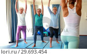 Купить «Trainer assisting senior citizens in performing stretching exercise», видеоролик № 29693454, снято 27 апреля 2016 г. (c) Wavebreak Media / Фотобанк Лори