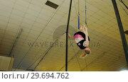 Купить «Gymnast practicing with ring row», видеоролик № 29694762, снято 14 сентября 2016 г. (c) Wavebreak Media / Фотобанк Лори