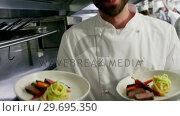 Купить «Happy chef presenting his food plates», видеоролик № 29695350, снято 21 ноября 2016 г. (c) Wavebreak Media / Фотобанк Лори