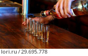 Купить «Barman pouring tequila in shot glass at bar counter», видеоролик № 29695778, снято 14 ноября 2016 г. (c) Wavebreak Media / Фотобанк Лори
