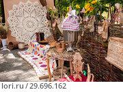 Купить «Russia, Khabarovsk, August 18, 2018: Folk handicrafts, needlework from natural materials», фото № 29696162, снято 18 августа 2018 г. (c) Катерина Белякина / Фотобанк Лори