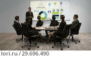 Купить «Businessman giving a presentation on digital screen», видеоролик № 29696490, снято 5 июля 2016 г. (c) Wavebreak Media / Фотобанк Лори