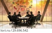 Купить «Businesspeople looking at futuristic screen showing social media symbol», видеоролик № 29696542, снято 5 июля 2016 г. (c) Wavebreak Media / Фотобанк Лори