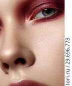 Купить «Portrait of beautiful woman with fashion make up», фото № 29696778, снято 9 января 2017 г. (c) Людмила Дутко / Фотобанк Лори