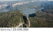 Купить «Scenic panoramic view from high point of Sau reservoir, Catalonia, at autumn day», видеоролик № 29696886, снято 17 ноября 2018 г. (c) Яков Филимонов / Фотобанк Лори