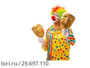 Купить «Male clown isolated on white», фото № 29697110, снято 28 сентября 2018 г. (c) Elnur / Фотобанк Лори