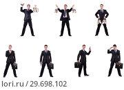 Купить «Businessman with money sacks, briefcase and handgun», фото № 29698102, снято 22 марта 2019 г. (c) Elnur / Фотобанк Лори
