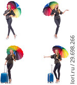 Купить «Woman with suitcase and umbrella isolated on white», фото № 29698266, снято 20 января 2019 г. (c) Elnur / Фотобанк Лори