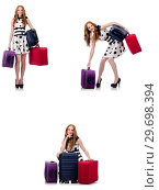 Купить «Beautiful woman in polka dot dress with suitcases isolated on wh», фото № 29698394, снято 25 февраля 2020 г. (c) Elnur / Фотобанк Лори