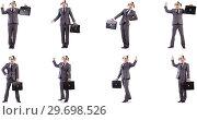 Купить «Funny clown businessman with briefcase», фото № 29698526, снято 25 марта 2019 г. (c) Elnur / Фотобанк Лори