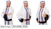 Купить «Male arab isolated on white background», фото № 29698554, снято 17 января 2019 г. (c) Elnur / Фотобанк Лори