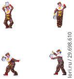 Купить «Funny male clown with alarm-clock», фото № 29698610, снято 19 января 2019 г. (c) Elnur / Фотобанк Лори