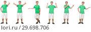 Купить «Young boy in green t-shirt isolated on white», фото № 29698706, снято 23 января 2019 г. (c) Elnur / Фотобанк Лори