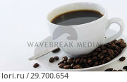Купить «Black coffee with roasted beans», видеоролик № 29700654, снято 6 октября 2016 г. (c) Wavebreak Media / Фотобанк Лори