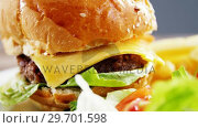 Купить «Hamburger and salad on plate», видеоролик № 29701598, снято 13 января 2017 г. (c) Wavebreak Media / Фотобанк Лори