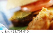 Купить «Hamburger and onion ring on napkin», видеоролик № 29701610, снято 13 января 2017 г. (c) Wavebreak Media / Фотобанк Лори
