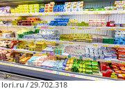 Купить «Fresh dairy products, butter ready for sale in supermarket», фото № 29702318, снято 27 января 2018 г. (c) FotograFF / Фотобанк Лори