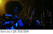 Купить «Drummer playing on drum set 4k», видеоролик № 29703554, снято 7 марта 2017 г. (c) Wavebreak Media / Фотобанк Лори