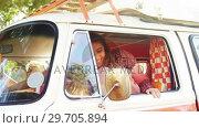 Купить «Happy woman getting down from van 4k», видеоролик № 29705894, снято 9 марта 2017 г. (c) Wavebreak Media / Фотобанк Лори