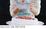 Купить «Woman icing sugar powder on tart 4k», видеоролик № 29707014, снято 5 мая 2017 г. (c) Wavebreak Media / Фотобанк Лори