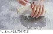 Купить «Woman kneading a dough 4k», видеоролик № 29707018, снято 5 мая 2017 г. (c) Wavebreak Media / Фотобанк Лори