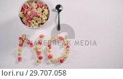 Купить «Bowl of breakfast cereal with text no 4k», видеоролик № 29707058, снято 13 июня 2017 г. (c) Wavebreak Media / Фотобанк Лори